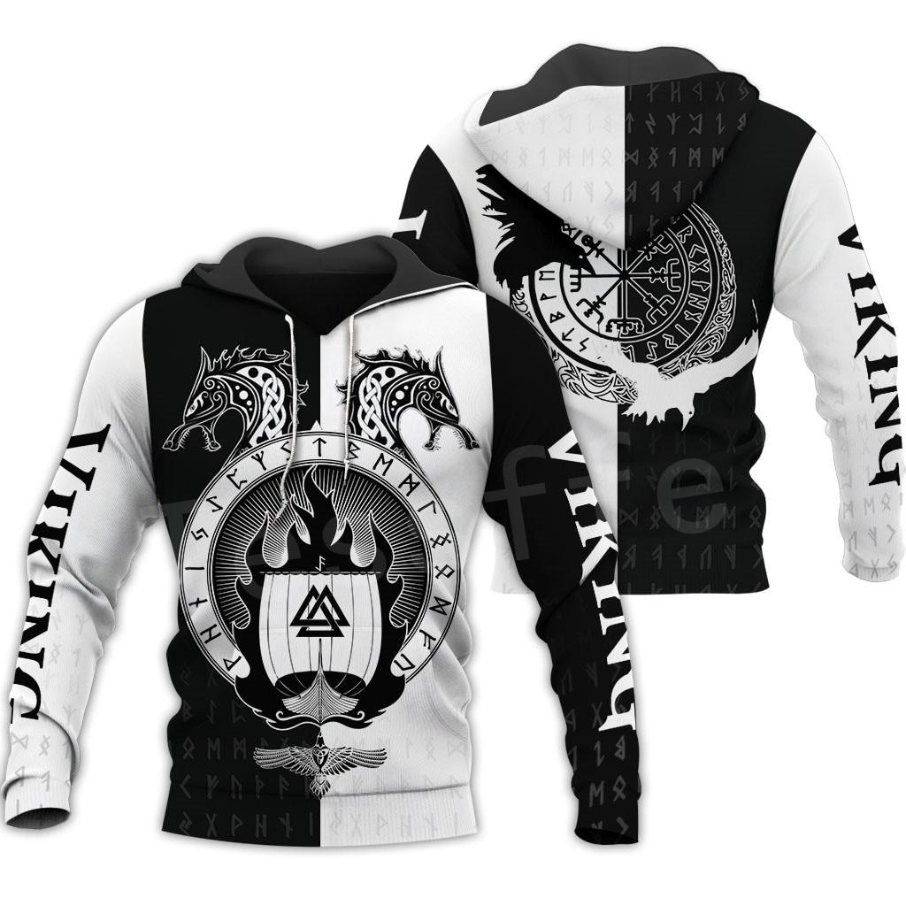 Tessffel Unisex Vikings Tattoo Viking Warriors NewFashion Harajuku MenWomen HipHop 3DPrint Zipper/Sweatshirts/Hoodies/Jacket S10