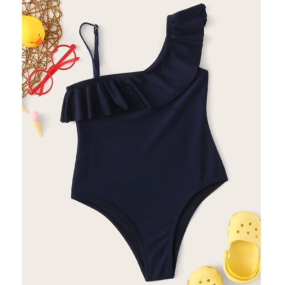 Hot Selling 2018 Europe And America Bikini Bathing Suit Bikini Purplish Blue Shoulder Camisole One-piece Women's Children Swimwe