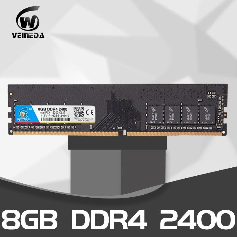 VEINEDA DIMM Ram DDR4 8GB PC4-19200 Memory Ram Ddr 4 2400 For Intel AMD DeskPC Mobo Ddr4 8 Gb 1.2V 284pin
