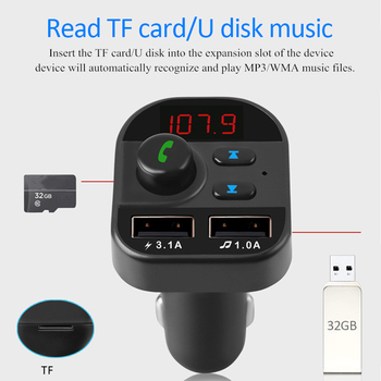 Bluetooth FM Transmitter USB Car Charger Adapter Kit Car Audio MP3 Player 3.1A Fast Charge Dual USB Fast Charger Interior Kit image