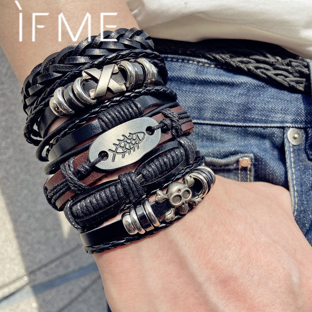 IF ME 6PCS Set Gothic Punk Skull Star Metal Multilayer Leather Bracelet Men Bracelets & Bangles Male Arm Jewelry 2020 Dropship