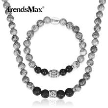 Natural Map Stone Jewelry Set Womens Mens Black Glass Bead Necklace Bracelet Stainless Steel Star Charm Link Chain Gift DS05(Hong Kong,China)