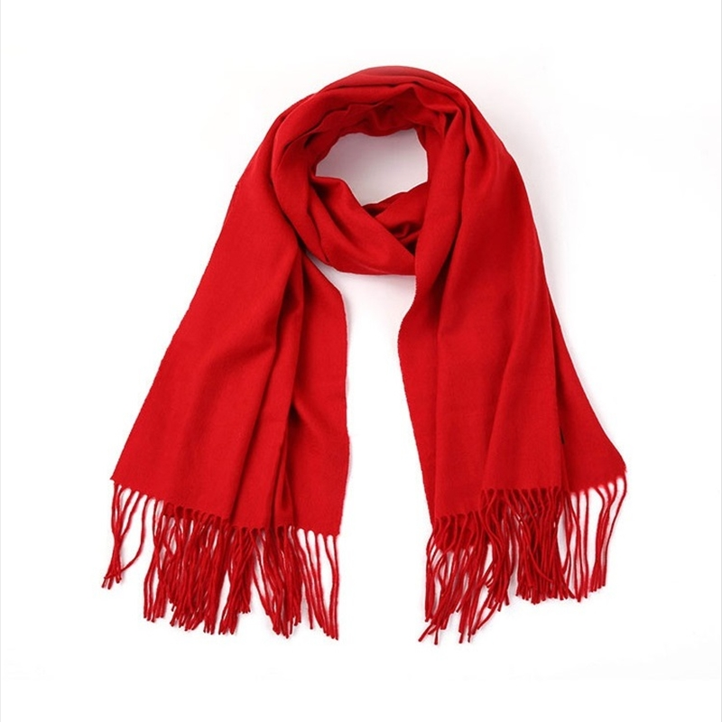 Women Solid Red Color  Long Cashmere Scarves  Tassel Lady Winter Autumn Long Scarf High Quality Female  Thin Shawl Hot Sale Men