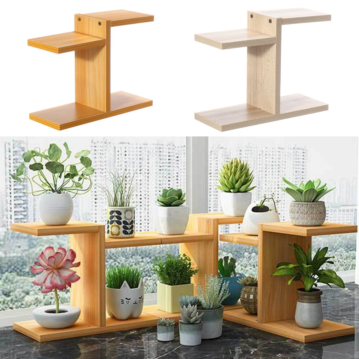 Simple Household MDF Multi-layer Plant Stand Succulent Shelf Rack Balcony Indoor Coffee Bar Desktop Garden Flower Pot Shelf
