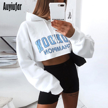 Auyiufar Women Letter Print Hooded Tops Long Sleeve Loose Fashion Casual Cropped Top 2019 Autumn Solid Female Sweatshirts New