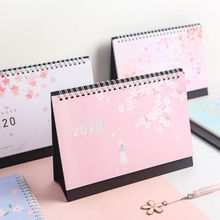 Beautiful Cherry Pattern Standing Paper 2020 Double Coil Calendar Memo Daily Schedule Table Planner Yearly Agenda Desk Organizer 2019 japanese anime one piece desk calendar diy table calendars daily schedule planner 2019 01 2019 12