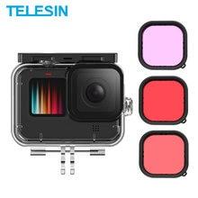 TELESIN 50M Waterproof Case For GoPro 9 Tempered Glass Lens Diving Housing Cover Red Purple Lens Filter for GoPro Hero 9 Black