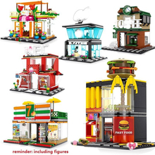 Toy Blocks Mini City Street Building Blocks Coffee Shop Hamburger Store City Diy Bricks Toys Compatible Blacks For Children Gift city series pet flower shop guildhall city hall cinema bank bricks action building blocks children gift toys decool 1105 1109