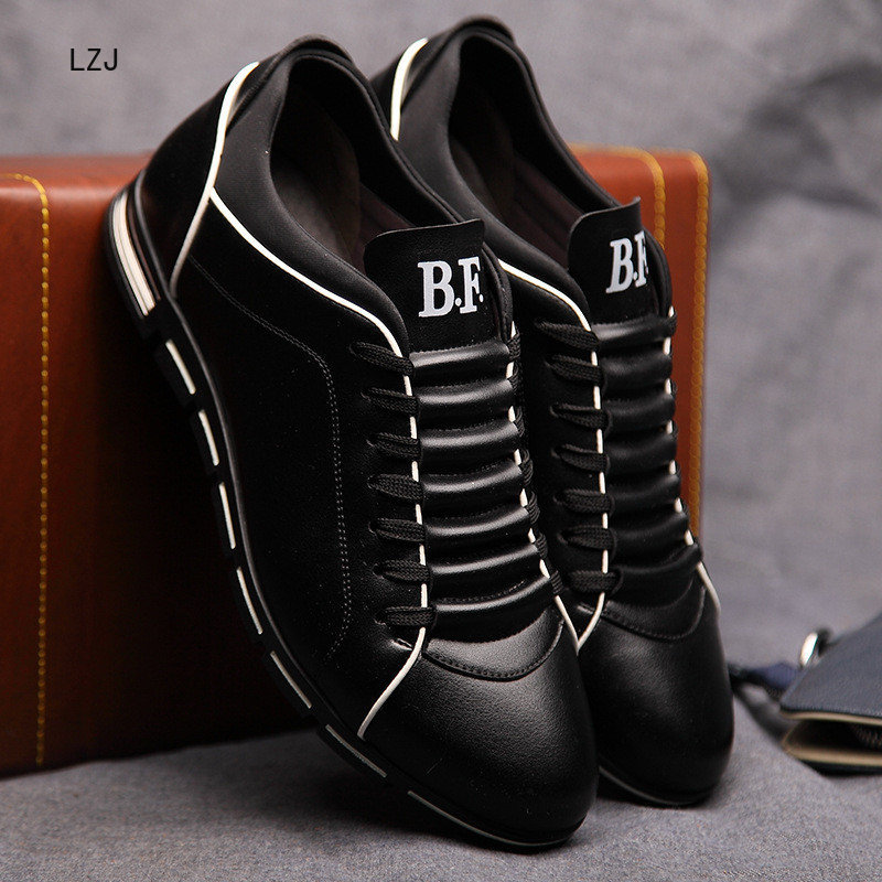LZJ Big Size 38-48 Men Casual Shoes Fashion Leather Shoes For Men Summer Men's Flat Shoes Dropshipping