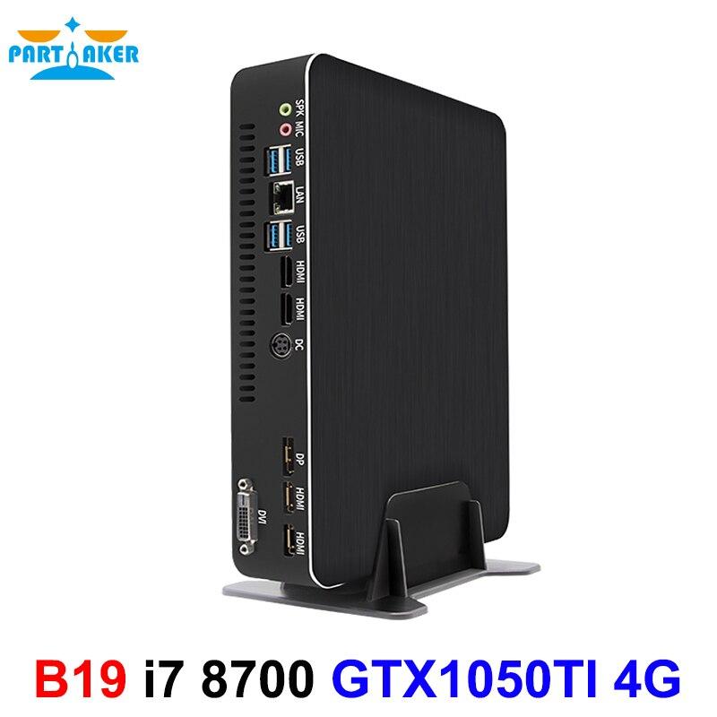 Ordinateur de jeu compatible Intel i7 6 cœurs 12 fils i7 8700 Nvidia GTX 1050TI 4 go Mini PC 2 * DDR4 2 * HDMI 2.0 1 * DP 1 * DVI WiFi