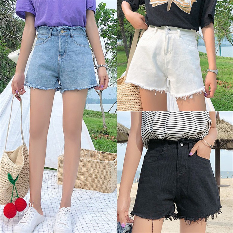 Summer New Ultra Hot Jeans Women Loose High Waist Raw Edge Tassel Fashion Short Pants Female High Waist Sexy Mini Demin Shorts