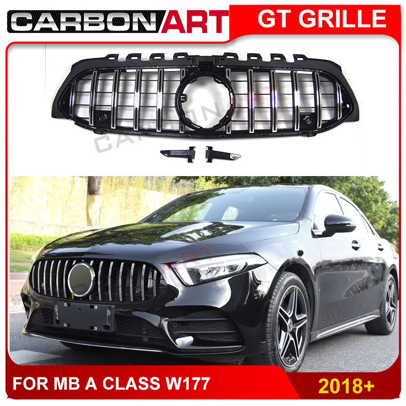 GT style front grille for W177 A class suitable for A180 <font><b>A200</b></font> A250 A45 chrome & black racing grille image