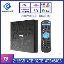 RAM 4GB Rom 64GB Android 9.0 TV Box T9 Rkchip Quad Core 4G/32G USB 3.0 Smart Tivi 4K Set Top Box 2.4G/5G Wifi Kép T9 TVBOX