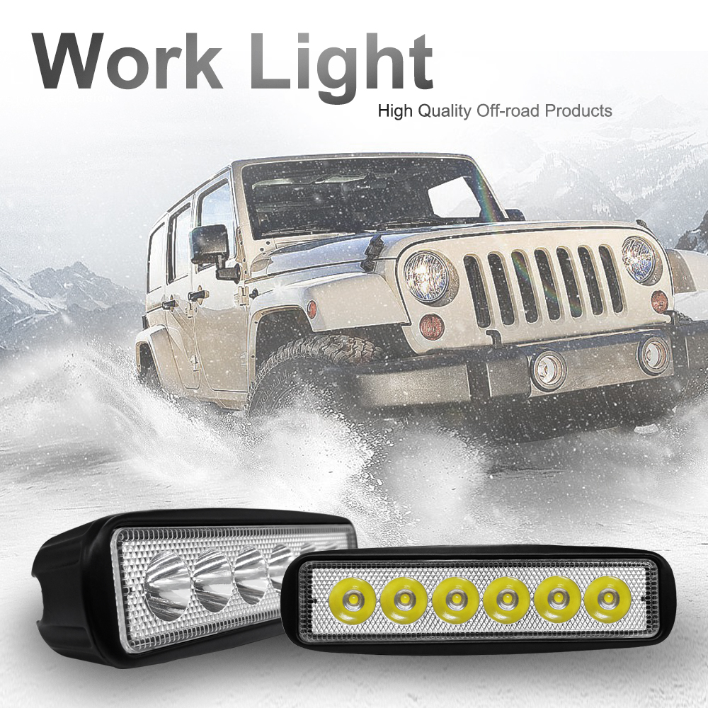 New 18W LED Work Light Bar Spotlight Flood Lamp Driving Fog Offroad LED Work Car Light 9V To 30V Strip Light