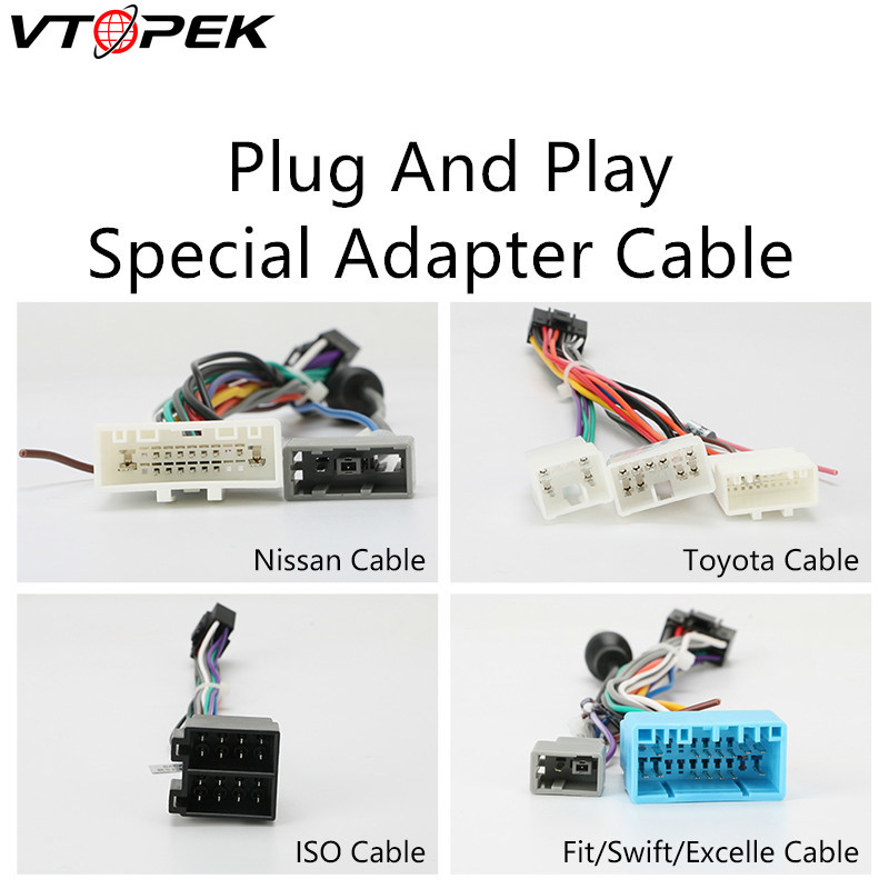Vtopek Android Car Radio Accessories Wire Adapter Connector Plug and Play Cable For Toyota Nissian Honda Volkswagen Hyundai Kia