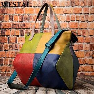 Image 1 - WESTAL ハンドバッグ女性の本革大バッグ女性のメッセンジャー/ショルダーバッグパッチワークハンドバッグ革トートバッグ 9135