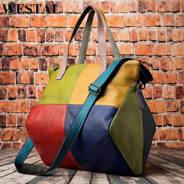 WESTAL ハンドバッグ女性の本革大バッグ女性のメッセンジャー/ショルダーバッグパッチワークハンドバッグ革トートバッグ 9135
