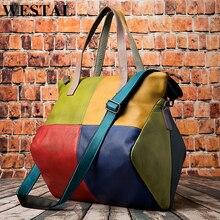 WESTAL borse delle donne del cuoio genuino grande borsa per le donne sacchetto del messaggero/sacchetti di spalla patchwork borse in pelle totes borse 9135