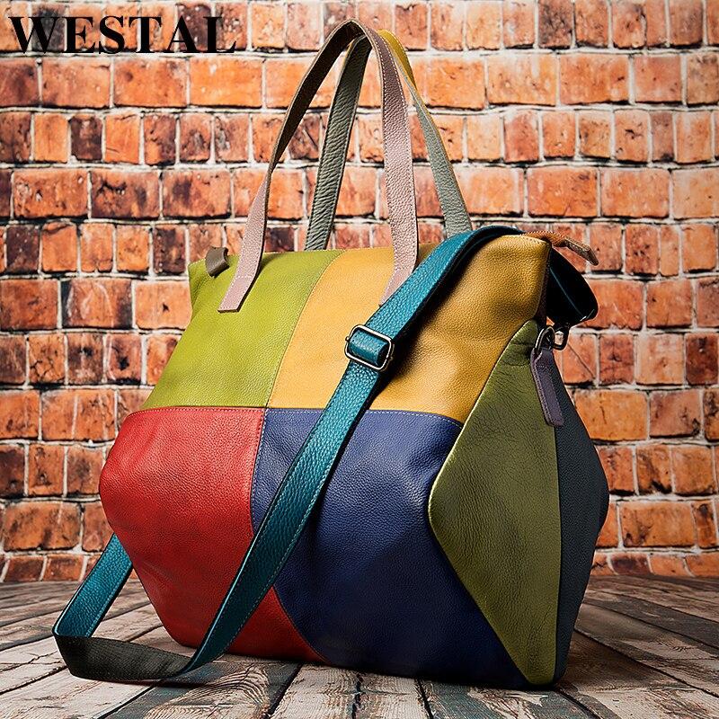 WESTAL handbags womens genuine leather large bag for women  messenger/shoulder bags patchwork handbags leather totes bags  9135Top-Handle Bags