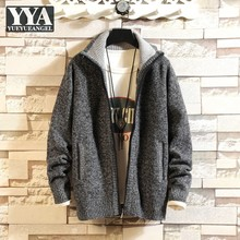 Autumn Winter Thicken Sweatercoat Plus Size Mens Loose Fit Solid Stand Collar Casual Knitting Jacket Men Cardigan Sweater Tops