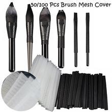 50/100 pçs pincéis de maquiagem net protetor guarda malha elástica beleza compõem cosméticos escova caneta capa