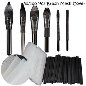 Image 1 - 50/100pcs  Makeup Brushes Net Protector Guard Elastic Mesh Beauty Make Up Cosmetic Brush Pen Cover