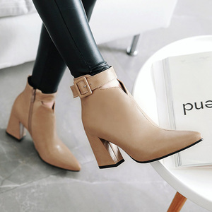 Image 5 - WETKISS Ankle Strap High Heels Women Boots Pointed Toe Footwear Zip Female Booties Pu Shoes Woman Autumn 2020 Plus Size 34 46