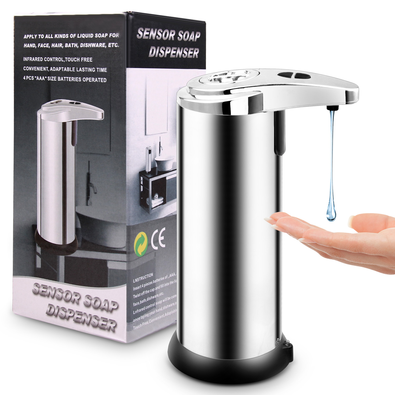 Le Jeune moderne.Santé-Distributeur de savon à de mouvement infrarouge sans contact-Distributeur de savonà capteur de mouvement infrarouge. Lavez vous les mains sans toucher au savon. Détection de l'approche de vos main et distribution automatique de la dose de savon liquide. Fonctionne avec quatre piles AAA (non incluses).En acier inoxydable. Hauteur: 19cm.