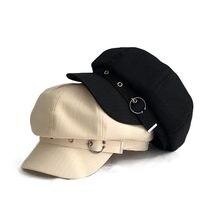 Fibonacci modny kapelusz kobiety ośmioboczna czapka Beret w paski Retro francuski artysta kapelusz malarz ośmioboczna kapelusze czarne brązowe czapki na co dzień