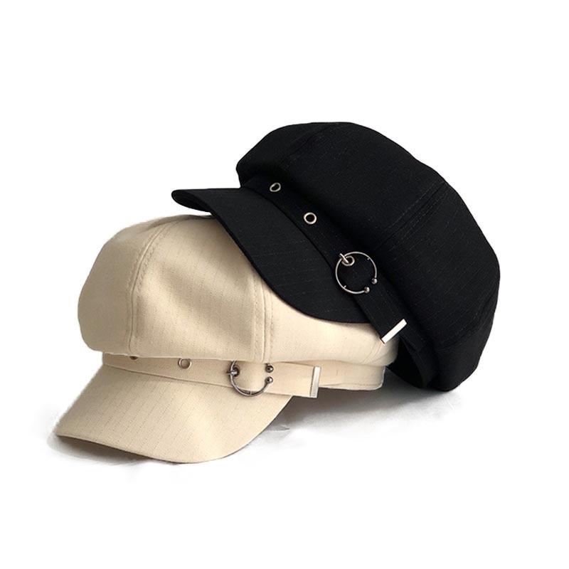 Fibonacci Spring Summer Octagonal Cap Women Beret Striped Retro Visor 2020 New Artist Hat
