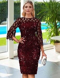 Image 2 - Afrikanische Kleider Für Frauen 2020 Elegent Pailletten Neue Ankunft Mode Stil Afrikanische Frauen Sommer Plus Größe Knie länge Kleid