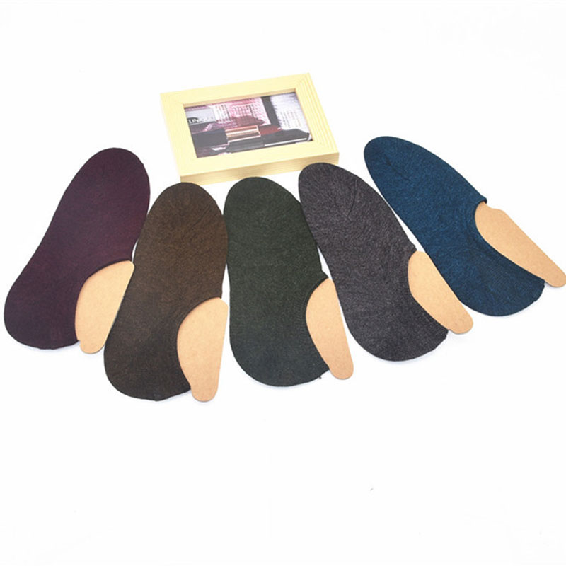Men's Combed Cotton Invisible Socks Solid Color Men's Socks Low Cut Shallow Mouth Silicone Non-slip Boat Socks