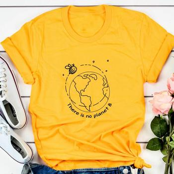 Nie ma planety B T Shirt estetyczne koszulki z nadrukami kobiety save the bees koszula lato moda Slogan topy Cotton Tee Dropshipping tanie i dobre opinie sofievalkiers REGULAR Sukno CN (pochodzenie) NONE SHORT W stylu rysunkowym Na co dzień Z okrągłym kołnierzykiem