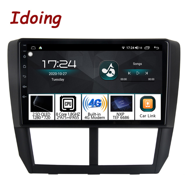 """Idoing 1Din 9""""Car Radio GPS Multimedia Player Android Auto For Subaru Forester 2008 2012 4G+64G Octa Core Navigation Head Unit"""