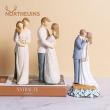NORTHEUINS Resin Couple Lover Figurines American Creative Valentine's Day Present Wedding Decor Figure Home Interior Decoration