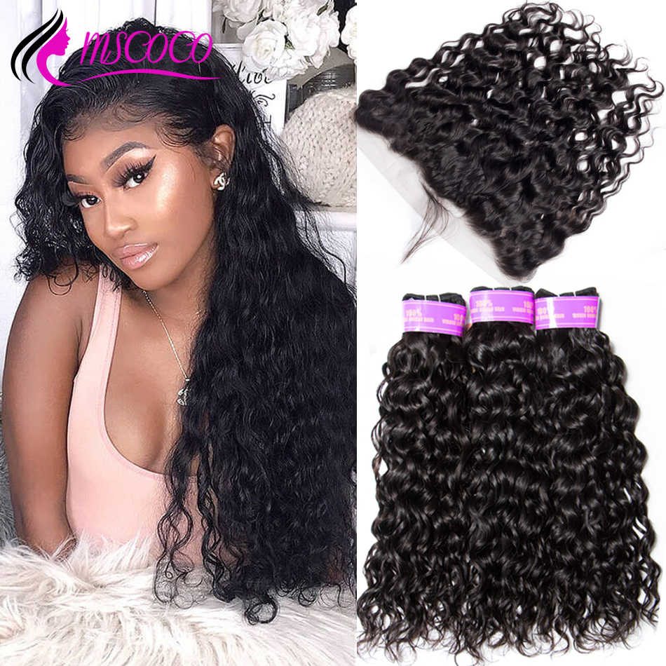 Mscoco Hair Water Wave Bundles With Frontal Brazilian Human Hair Weave 3 Bundles HD Transparent Lace Frontal With Bundles