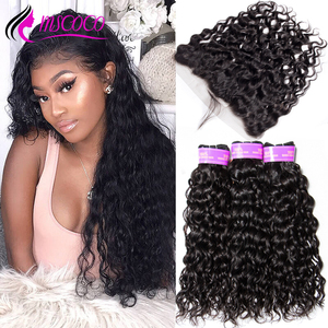 Mscoco Hair Water Wave Bundles With Frontal Brazilian Human Hair Weave 3 Bundles HD Transparent Lace Frontal With Bundles(China)