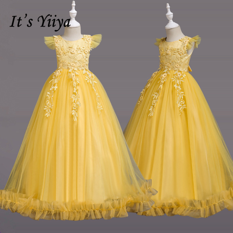 It's YiiYa Flower Girl Dress 2019 Crystal Ruched First Communion Dresses For Girls Elegant O-neck Long Christmas Ball Gowns 833