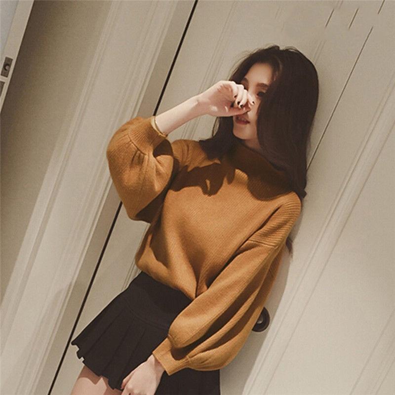 2019 New Long Lantern Winter Women Sweaters Fashion Turtleneck Batwing Sleeve Pullovers Loose Knitted Sweaters Female Jumper