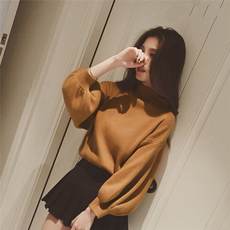 2020 New Long Lantern Winter Women Sweaters Fashion Turtleneck Batwing Sleeve Pullovers Loose Knitted Sweaters Female Jumper