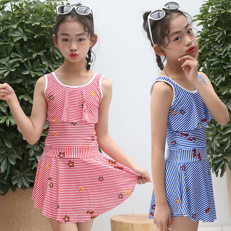 CHILDREN'S Swimsuit Girls' Swimwear Set 2019 Summer Wear New Style Stripes GIRL'S One-piece Swimwear Lace Skirt