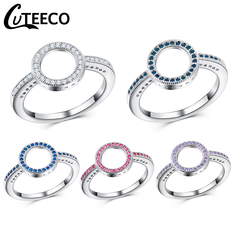 Cuteeco 5 Colors Silver Forever Clear Pink CZ Circle Round Finger Rings For Women Jewelry Wedding Pandora Ring Jewelry Gift