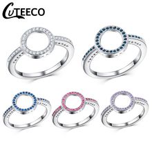 Cuteeco 5 Colors Silver Forever Clear Pink CZ Circle Round Finger Rings For Women Jewelry Wedding Pan Ring Gift