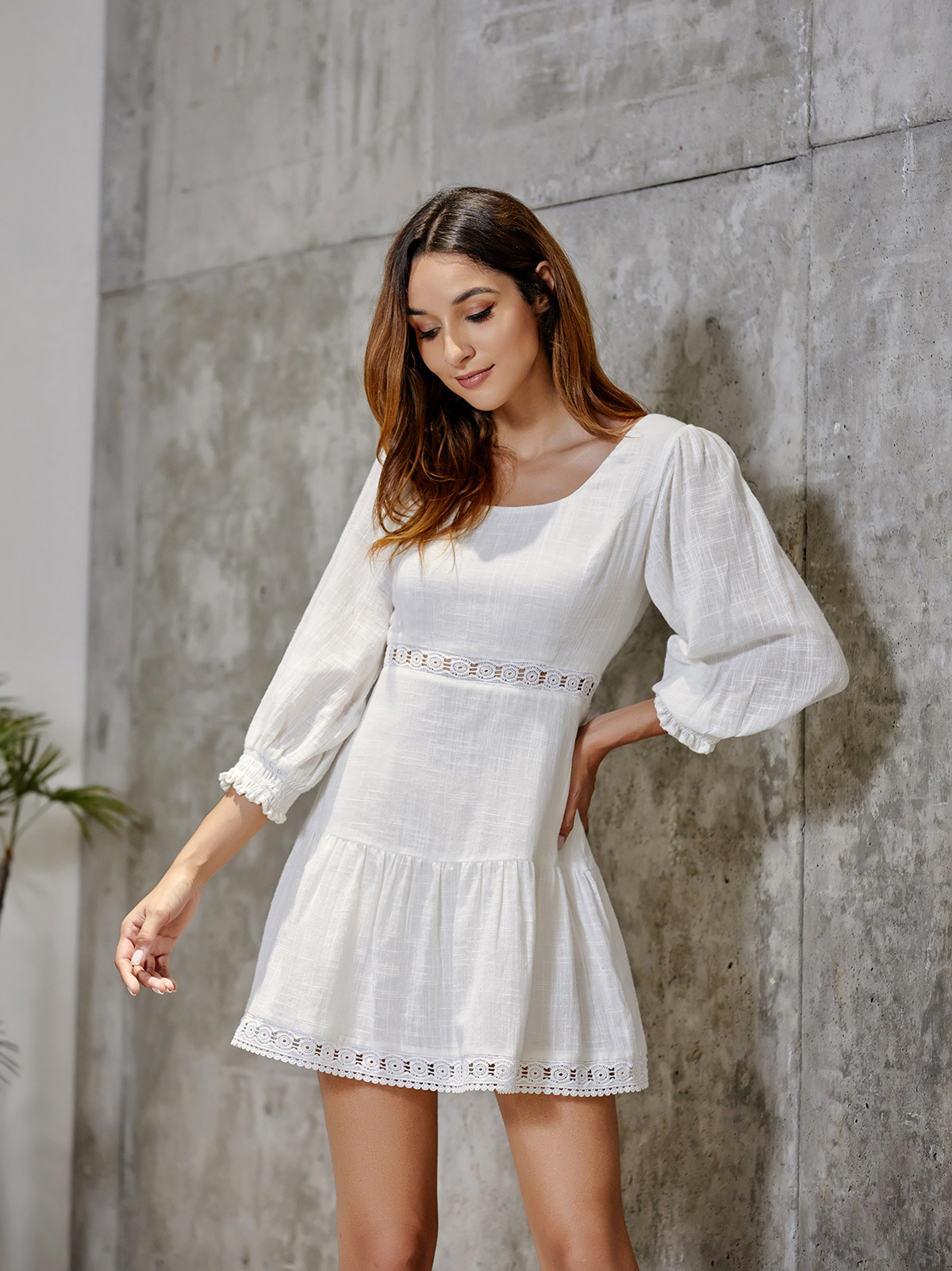 <font><b>AliExpress</b></font> Hot Sales-2019 Europe And America Autumn New Style Puff Sleeve Square Collar after Backless Cross Lace-up <font><b>Dress</b></font> Short image
