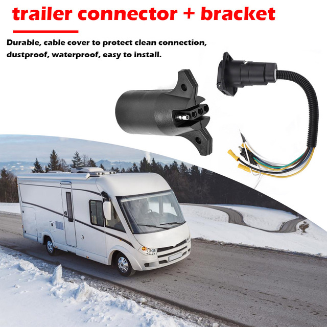 $ 15.06 Portable Trailer Wiring Adapter Plug Bracket Kit 4 Way Flat to 7 Way RV Blade Motor Vehicle Parts for Commercial Vehicles
