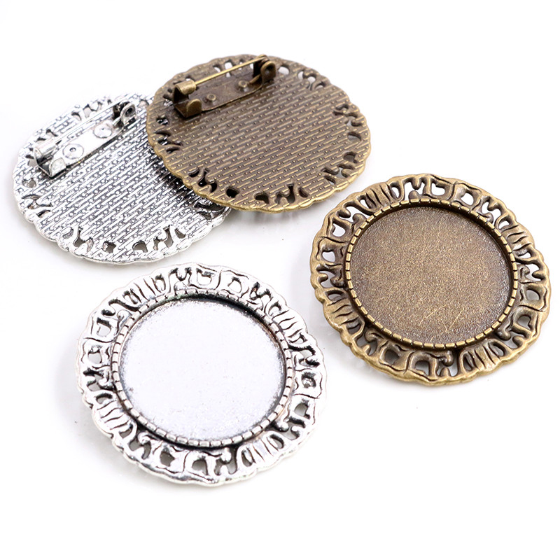 New Fashion 5pcs 25mm Inner Size Antique Silver Plated Bronze Brooch Pierced Cameo Cabochon Base Setting Pendant