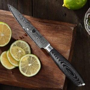 """Image 5 - XINZUO couteau utilitaire 5 """"pouces, couteaux de cuisine 67 couches, couteau de cuisine japonais en acier, damas très tranchant avec manche en Pakkawood"""