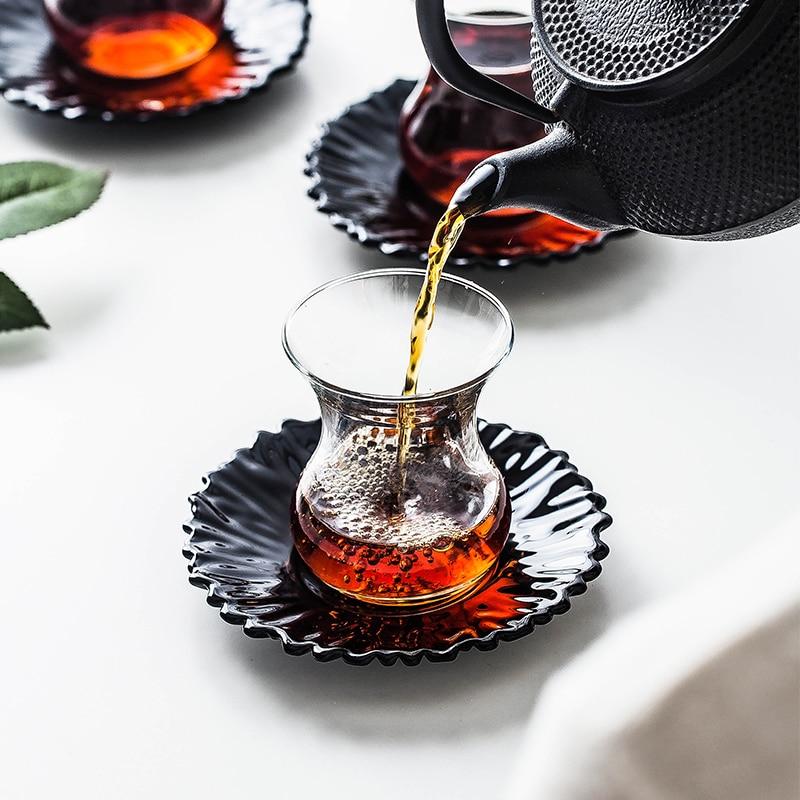 Turkey Creativity Black Tea Mug Tray Kit Cafe Bohea Glass Teacup Espresso Coffee Cup Saucer  Drinking Set Shot Glasses