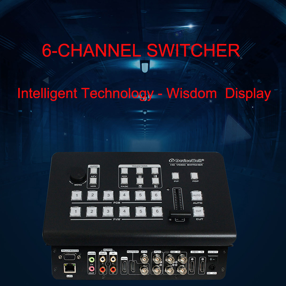 DeviceWell <font><b>HD</b></font> Video <font><b>Switcher</b></font> HDS7106 for Video Special Effects Switching 6-CH <font><b>Switcher</b></font> Supports 4-CH Broadcast <font><b>SDI</b></font> 2-CH HDMI image
