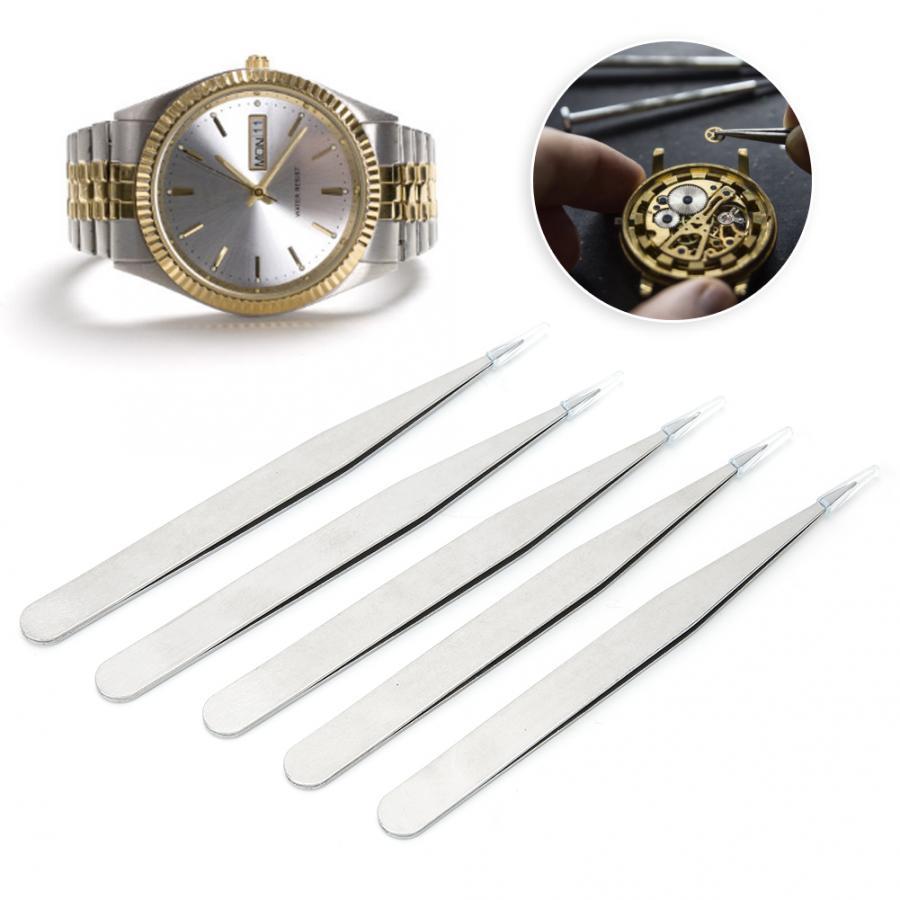 watch tools 5Pcs/Set Alloy Steel Antimagnetic High Precision Tweezers Watch Repairing Tool tool for watchmaker